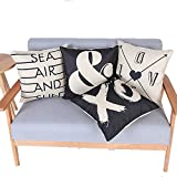Monkeysell .4 Pcs Black and Beige Stripe Vintage Style Cotton Linen Sofa Home Decor Design Throw Pillow Case Cushion Covers Square 18 Inch (LOVE time 4 times)
