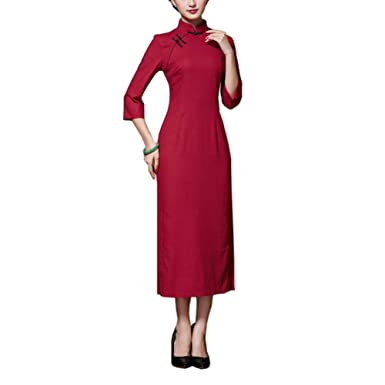 Image Unavailable. Image not available for. Color  George Jimmy Chinese  Traditional Style Solid Color Dress Cheongsam Qipao ... 2f94ab735dfe