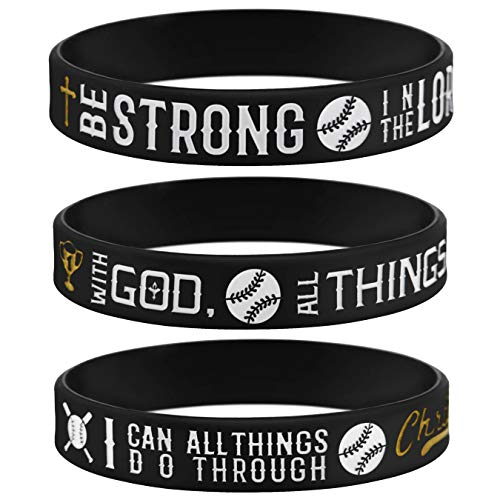 Sainstone Power of Faith Baseball Bible Verse Silicone Wristbands with Christian Inspirational Sayings, Set 3 of Scriptures Motivational Rubber Bracelets Sports Gifts (Black Golden) ()