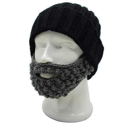 83cfe8300395e Amazon.com  YEKEYI Unisex Funny Winter Hat w Fake Beard Detachable ...