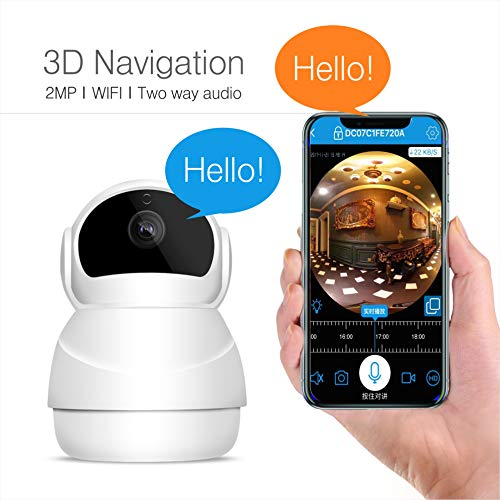 Indoor Camera, Nanny Cam, Wireless IP Camera, WiFi 1080P HD Home Security Camera with Two Way Audio and Video, Night Vision Pet/Dog/Cat/Elder/Baby Monitor, Pan/Tilt/Zoom Function