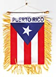 Puerto Rico - Fringed Window Hanging Flag