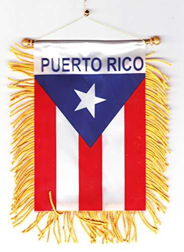 Puerto Rico - Fringed Window Hanging Flag - Puerto Rico Flag Car