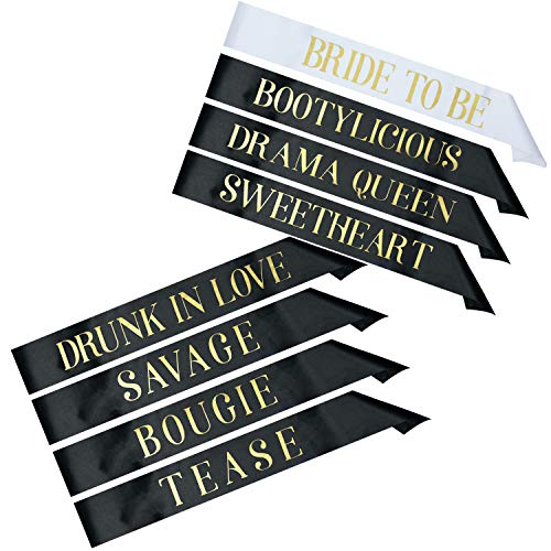 8 Bachelorette Sashes for Bachelorette Party - 7 Bridesmaids Sashes and 1 Bride to Be Bachelorette Sash - Bride Tribe Party Gifts Games Favors Decorations Supplies - Black & Gold - White & Gold