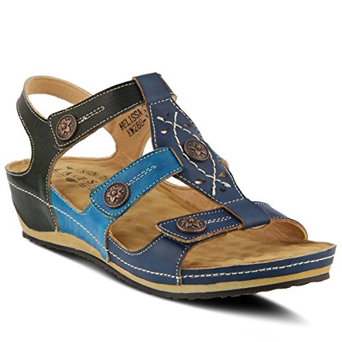 (L'Artiste by Spring Step Women's Style Melissa Navy Multi Euro Size 37 Leather Sandal)