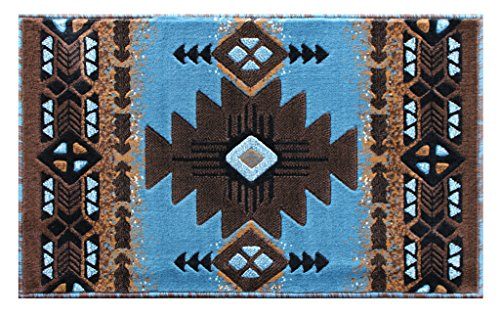 South West Native American Area Rug Design C 318 Blue Brown (24 Inch X 40 Inch) Mat