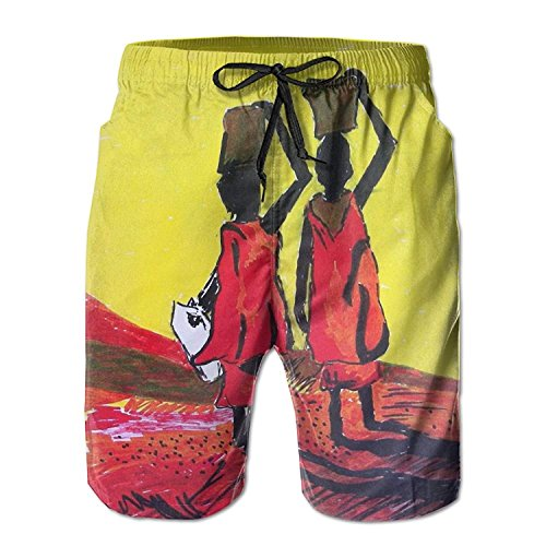 White Arts Africa Beach Boys s Elastic Short Swim Casual Pants with Trunks Paintings Pockets Men Waist dq4Zq