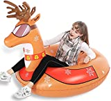 Jasonwell Winter Inflatable Snow Tube - Big 47 Inch Inflatable Snow Sled Toboggan with Rapid Valves & Carry Bag Heavy Duty Reindeer / Flamingo Inflatable Snow Tube for Kids and Adults