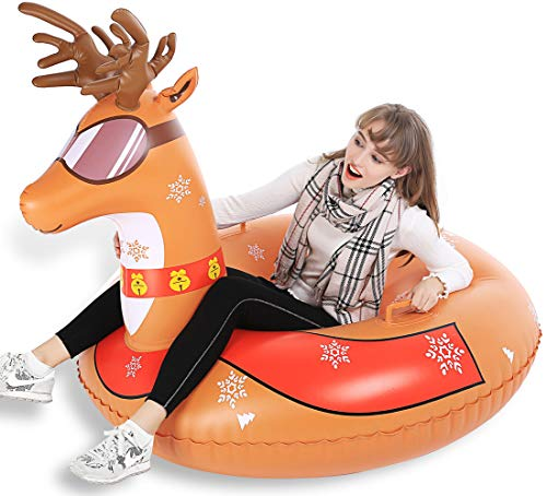Jasonwell Winter Snow Tube Big 47 Inch Inflatable Snow Sled Toboggan with Rapid Valves & Carry Bag - Heavy Duty Reindeer / Flamingo Inflatable Snow Tube for Kids and Adults