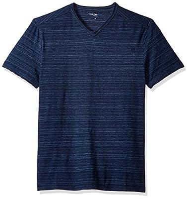 Calvin Klein Jeans Men's Short Sleeve Streaky Melange V-Neck T-Shirt