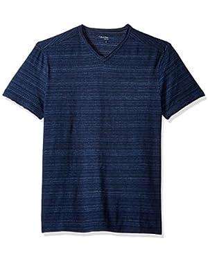 Calvin Klein Jeans Men's Short Sleeve Streaky Melange V-Neck T-Shirt!