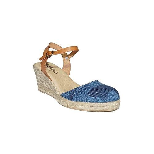 MOHINO - Espardeña Cuña Tejana 20329-3089 Sandalias Valencianas para Mujer en Piel Esparto Confort Roja Azul Alpargatas: Amazon.es: Zapatos y complementos