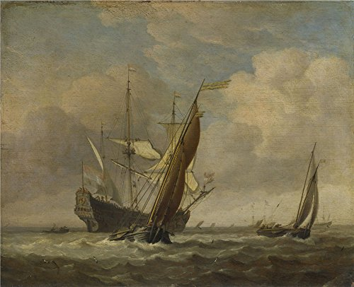Polyster Canvas ,the High Resolution Art Decorative Prints On Canvas Of Oil Painting 'Willem Van De Velde Two Small Vessels And A Dutch Man Of War In A Breeze ', 30 X 37 Inch / 76 X 94 Cm Is Best For Study Artwork And Home Decor And Gifts