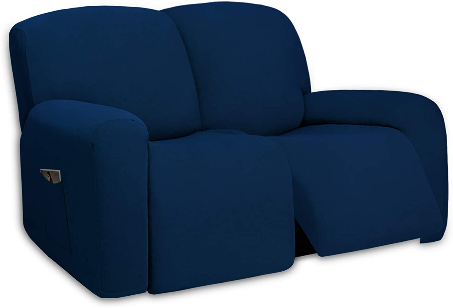PureFit Super Stretch Loveseat Recliner Sofa Couch Cover with Pocket – 2 Seats Lazy Boy Non Slip Soft Sofa Slipcover, Washable Reclining Furniture Protector for Kids, Pets (Recliner Loveseat, Navy)