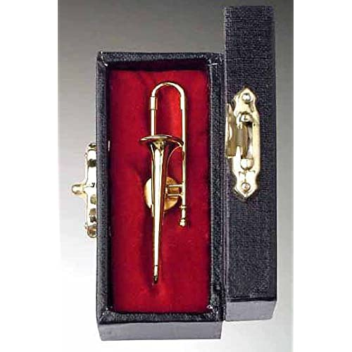 Gold Trombone Pin w Instrument Case Musical Gift NEW
