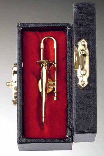 Gold Trombone Pin w Instrument Case Musical Gift -