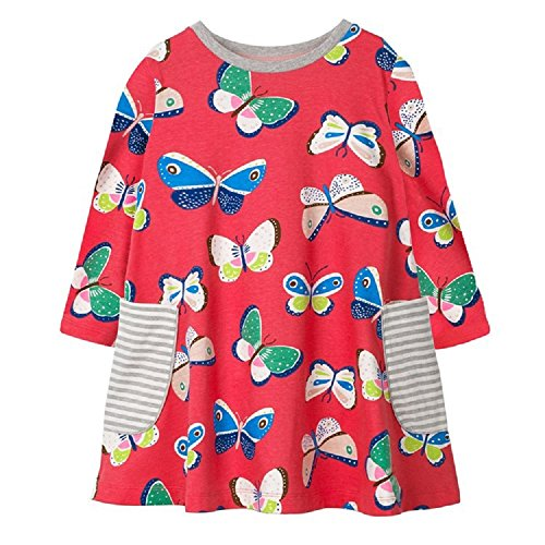 Hongshilian Girls Cotton Long Sleeve Cartoon Pattern Dress (18M, Butterfly & Red) (Casual Cartoon Pattern)