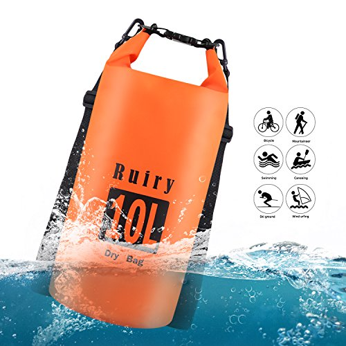 Ruiry Floating Waterproof Dry Bag 10L,Beach Dry Pack,Roll-Top-Sack Waterproof Bag, Waterproof Backpack for Kayaking, Rafting, Boating, Swimming, Camping, Hiking, Beach, Fishing by Ruiry
