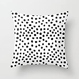 Jagfhhs Preppy Black And White Dots Minimal Abstract Brushstrokes Painting Illustration Pattern Print Home Indoor For Decor Fashion Style Comfortanble Cotton Square Standar Size:22x22 IN (Two Sides)