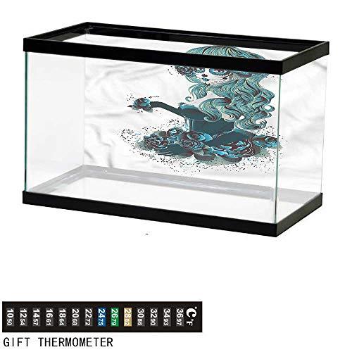 - Suchashome Fish Tank Backdrop Skull,Grunge Skull Girl Roses,Aquarium Background,60