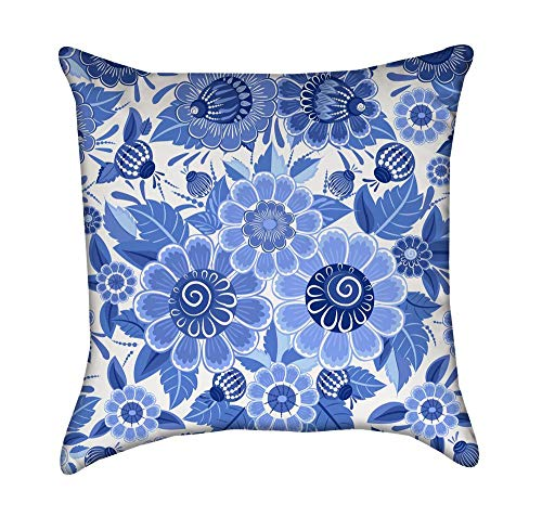 Blue English Fine China Garden Flowers Floral Bouquet Throw Pillow Cover