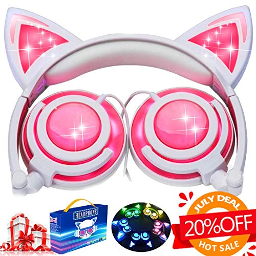 Kids Cat Ear Headphones for Girls Boys Toddlers with Microphone LED Light 85dB Volume Limit USB Rechargeable Wired Foldable Over/On Earphones Game Headsets for Phone Tablets PC Travel[Super Sale] ()