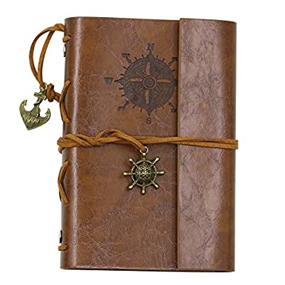 Honghong Retro Anchor Faux Leather Cover Blank Paper Notebook Diary Book with Loose-Leaf binding and String Bound Filofax Gift