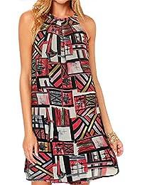 Women's Print Chiffon Sleeveless Casual Dress