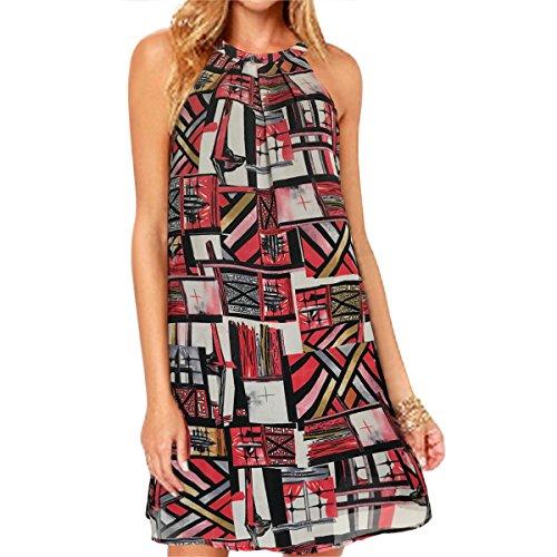 vanberfia Women's Lace Patchwork Loose Casual Mini Chiffon Dress (M, 6261) - Patchwork Chiffon Dress