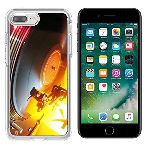 MSD Apple iPhone 7 plus 8 plus Clear case Soft TPU Rubber Silicone Bumper Snap Cases iPhone7plus/8plus IMAGE of vinyl music record turntable disco sound retro audio disc player black vintage dj party