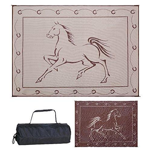 Reversible Mats 219127 Outdoor Patio / RV Camping Mat - Hunter Mat (Brown/Beige Horse Design), 9 Feet x 12 Feet ()