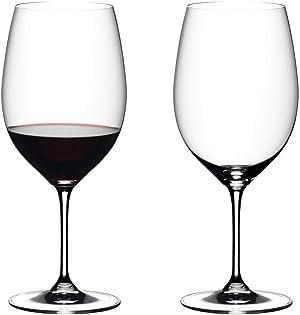 Riedel 6416/0 Vinum Dishwasher Safe Crystal Red Wine Glass Stemware with Microfiber Polishing Cloth for Cabernet Sauvignon, Merlot, Bordeaux (2 Pack)