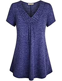 Womens Cross V Neck Short Sleeve Loose Flare Tunic Tops with Center Pleats