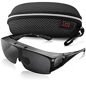 Br'Guras Fit Over Polarized UV Protection Sunglasses with Filp Up Lens Wear over Eyeglasses for Men and Women Driving, Hiking or Fishing (Grey striped, Black)