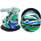 Blue and Green Marble Swirl Ear Plugs Single Flared Acrylic Gauges