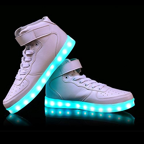 Charles Albert High-top Lichtgevende Knipperende Glow In The Dark Dames Heren Usb Charging Multi Color Led Knippert Sneakers Wit