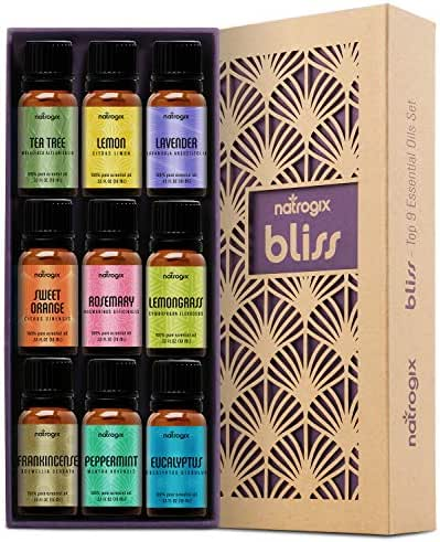 Natrogix Bliss Essential Oils - Top 9 Therapeutic Grade 100% Pure Essential Oil Set 9/10ml (Tea Tree, Lavender, Eucalyptus, Frankincense, Lemongrass, Lemon, Rosemary, Orange, Peppermint) w/Free E-Book