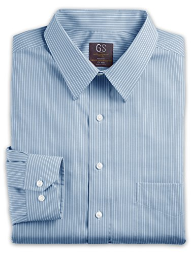 Gold Series DXL Big and Tall Continuous Comfort Bengal Stripe Dress Shirt, Seaport Blue 18.5 35/36 Bengal Stripe Button Cuff Dress Shirt