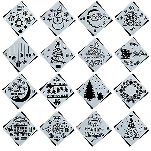 16 Pack Christmas Stencils Journal Stencil Template Set with Santa Claus,Christmas Tree,Snowflakes,Jingling Bell,Snowman,Reindeers Pattern for Card, Wood DIY Drawing Painting Craft Projects ()