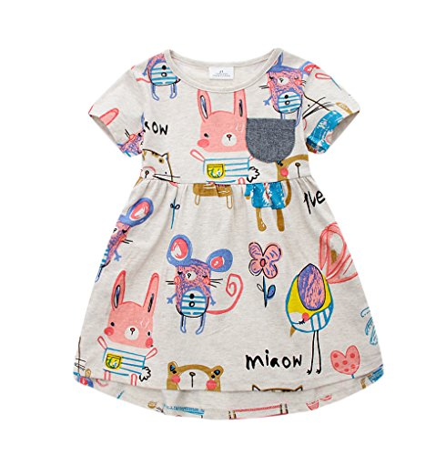 (Angel&tribe Girl Short Sleeve Cartoon Casual Printing Dress T-Shirt Nightgown 100% Cotton Rat Bunny Gray 5T)