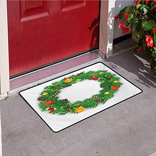 - Jinguizi Christmas Universal Door mat Festive Wreath Evergreen with Candy Cane Stockings Mistletoe Berries on Door Door mat Floor Decoration W23.6 x L35.4 Inch Green White