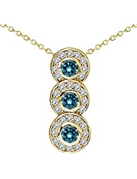 """0.75 Carat Blue Diamond Fancy Journey Three Stone Pendant Necklace With 18"""" Chain 14K Yellow Gold"""