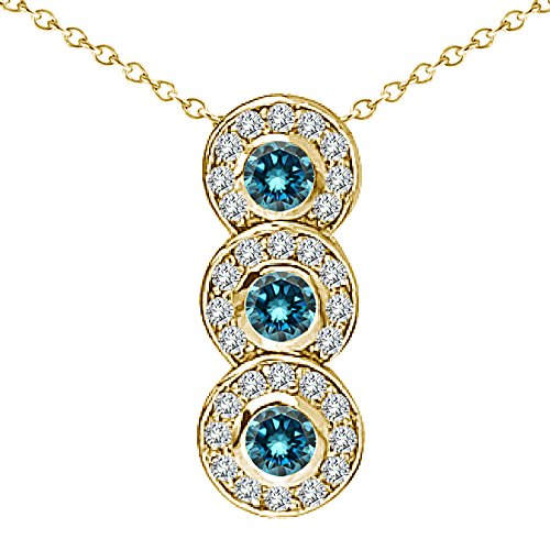 "0.75 Carat Blue Diamond Fancy Journey Three Stone Pendant Necklace With 18"" Chain 14K Yellow Gold"
