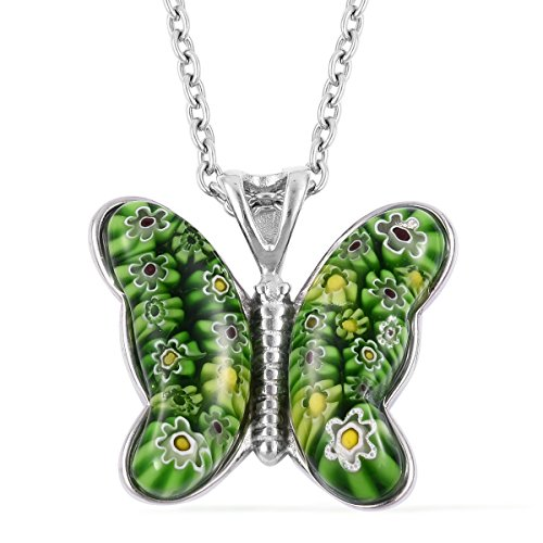 (Butterfly Murano Millefiori Glass Green Flower Chain Pendant Necklace Stainless Steel Jewelry Gift 24