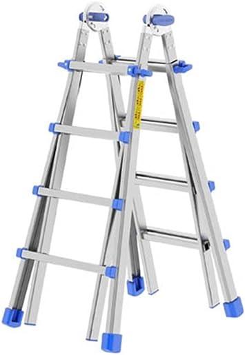 Escalera telescópica de aluminio 4 + 4 peldaños 4 + 5 peldaños 5 + 5 5 + 6 6 + 6 peldaños: Amazon.es: Bricolaje y herramientas