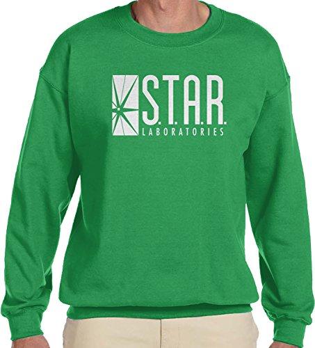 Amdesco Men's Star Laboratories, S.T.A.R. Labs Crewneck Sweatshirt, Kelly Green 2XL