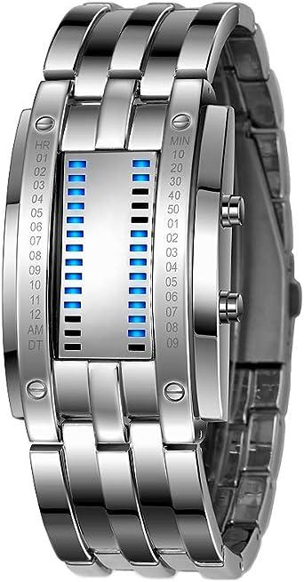 FeiWen Binario Relojes Digitales de Hombre y Mujer Rectangular Acero Inoxidable del Bisel Azul LED Luminosidad Fashion Unico Casual Calendario Reloj de Pulsera, Plateado (Hombre): Amazon.es: Relojes