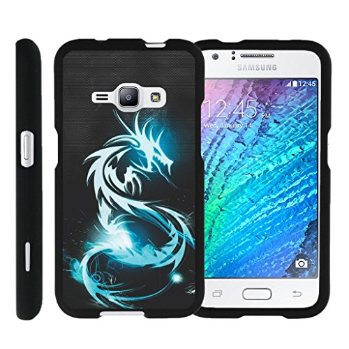 MINITURTLE Case Compatible w/ Miniturtle [Samsung Galaxy J1 J120 Case (2016), Amp 2 Case, Express 3 Black Case][Snap Shell] 2 Piece Design Case, Perfect Fit Hard Protector White Dragon