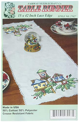 Fairway Stamped Lace Edge Table Runner, 15 by 42-Inch, Birdhouse