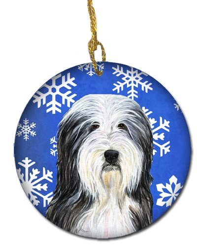 Caroline's Treasures SS4635-CO1 Bearded Collie Winter Snowflakes Holiday Christmas Ceramic Ornament SS4635, 3 in, Multicolor